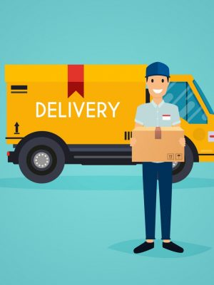 Delivery Man And Track Flat Design Modern Vector 14145126.jpg
